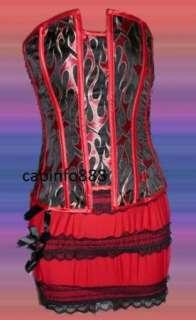Sexy Red Fire Corset Bustier & Mini Skirt S M L XL 2XL