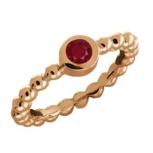 0.21 Ct Round Red Ruby 14k Rose Gold Ring Jewelry