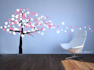 Wall Decal   Wind Blowing Cherry Blossom Tree