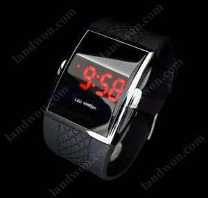C5623 Fashion Sport Mirror Red Light LED Wrist Watch black
