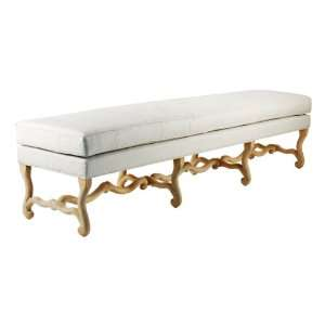 : White Linen French Country Carved Wood Cloris Bench: Home & Kitchen
