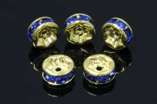 Gold Plated Blue Crystal 6mm Rondelle Spacer Beads 10Pcs