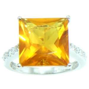 Rohdium Plated Princess Cut Citrine Color CZ Ring, Size 5 Jewelry