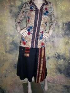 vtg 60s 70s BOHO floral ASIAN inspired TOP blouse long sleeve sz M