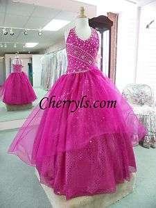 LITTLE ROSIE 628 fuchsia size 8 GIRLS NATIONAL PAGEANT DRESS WINNING