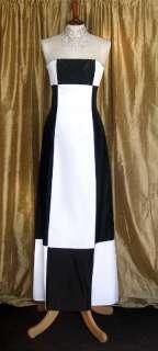 NWT Jessica McClintock Black White Satin Formal Dress Size 4P