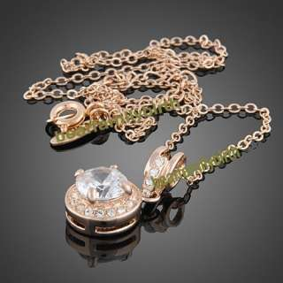18K rose gold Gp Swarovski Crystal fashion necklace 846