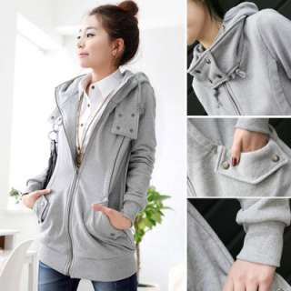 New Ladies Womens Hoodies Zipper Coat Jacket T8908