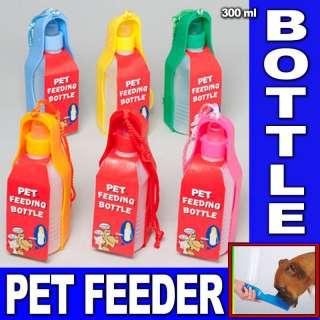 PETS DOG WATER BOTTLE BOWL PORTABLE DRINK DISH CAT BIRD TRAVEL FEEDING