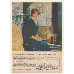 1961 Lufthansa Airlines Stewardess Miss Dietlind Print Ad