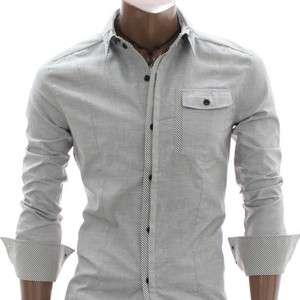 youstars Mens Casual Button Down Shirt GRAY (AT896