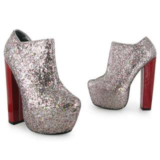 LADIES SILVER GLITTER PARTY BLOCK HEEL PLATFORM WOMENS PARTY
