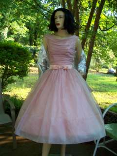 Vtg 50s LAVENDER Organza TULLE Wedding Bridal PROM Pageant Party DRESS