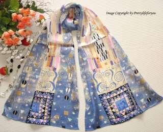Art Oblong 100% Silk Scarf Wrap Gustav Klimts Fregio Stoclet
