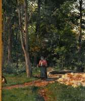 Russian Master Oil Painting Picking Berries at Forest Scene c.1870