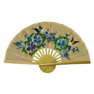 EXP Hand painted Orange Folding Decorative Wall Fan   Bird