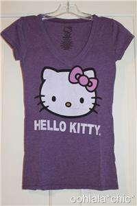 HELLO KITTY with Bow Sanrio Purple Heather T Shirt Tee