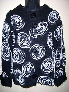 NWT Design Options Adieu black swirls sweater S,M,L,XL