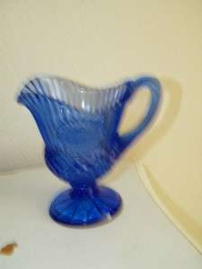 Vintage Avon Cobalt Blue Glass Mt. Vernon Milk Pitcher George Jug 5197