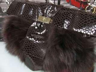 NWT $465 BILL BLASS Aiden Leather Fox Fur Snake Handbag Purse Bag
