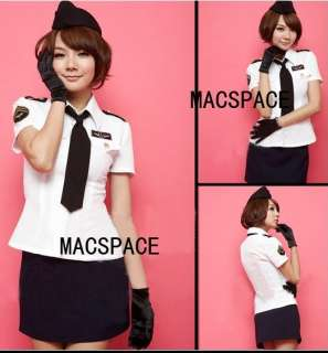 Black White 2 Pcs Air Hostess Halloween Costume + Gloves + Hat