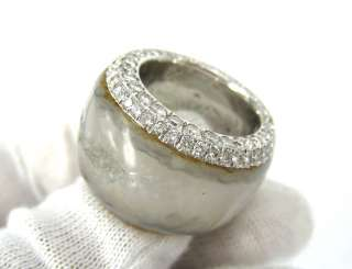 Estate Fred Leighton 1.41ct Diamond Natural Agate 15mm 18K Band Size 5