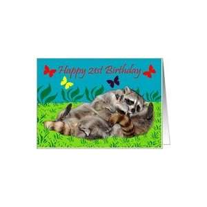 21st Birthday, Raccoons playing Card: Toys & Games