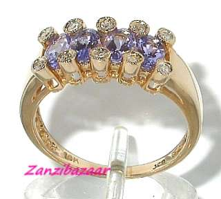 14K YELLOW GOLD VIOLET BLUE TANZANITE & DIAMOND RING