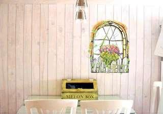 Flower Garden Window Wall Stickers Decor Vinyl Decals