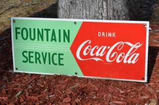 VINTAGE 50s COCA COLA SODA DRINK PORCELAIN FOUNTAIN SIGN SUPER