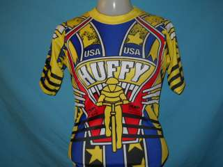 vintage HUFFY USA BICYCLE BIKE JERSEY POLY t shirt YM