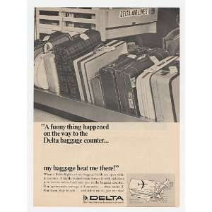 1966 Delta Airlines Baggage Arrives Fast Print Ad (20268