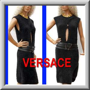795 GIANNI VERSACE Versus BLACK DRESS with LEATHER BELT w/ Price Tag