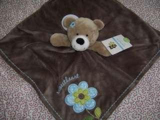 Sweetheart Blue Flower Brown Rattle Teddy Bear Security Blanket Lovey