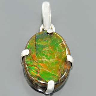 Ammolite Gemstone 925 Sterling Silver Pendant Jewelry Lot#14P