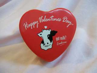 Happy Valentines Day Got Milk Tin Heart shaped with cow on top
