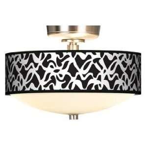 White Ribbon Giclee Energy Saver Brushed Steel Fan Light Kit