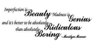 Imperfection is Beauty Marilyn Monroe Wall Quote Decal Home Decor GIFT
