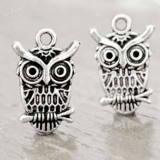 25 Tibet Style Tibetan Silver Animal Owl Charm Pendants Drop Findings