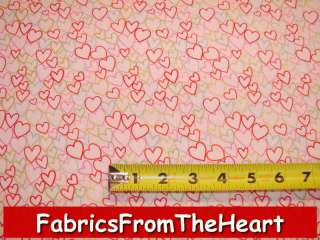 Love Hearts Valentine Gold Metallic Makower UK Fabric