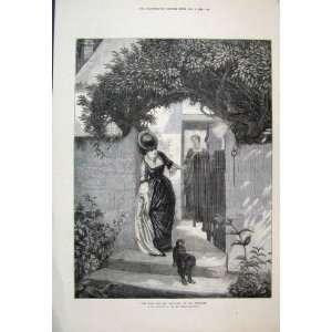 1871 Woman Gate Dog Garden Beautiful Antique Fine Art
