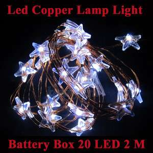 6ft 20 Bright LED Stars Decoration String Lights on Copper Wire 2
