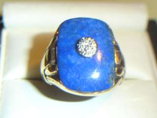 VINTAGE 10kY/G MENS LAPIS DIAMOND RING, SIGN HAND WROUGHT