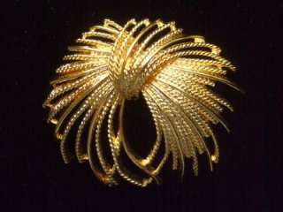 Vintage Large Textured Gold Tone Monet Brooch Pin 2.5