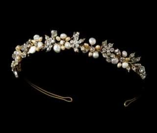 Rum Gold Ivory Keshi Pearl Tiara Bridal Jewelry Set