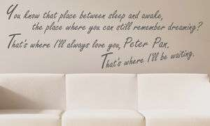 WALL QUOTE DECAL ART Love Tinkerbell Peter Pan Custom