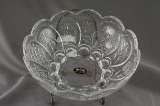Modern Glass Crystal Clear Studio Art Floral Bowl