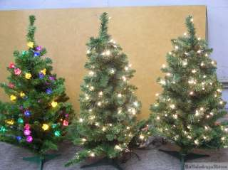 Everything Pictured. New Set of 3 Pre Lit Artificial Christmas Trees