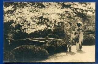 JAPANESE GIRLS CHERRY BLOSSOMS GARDEN JAPAN OLD POSTCARD