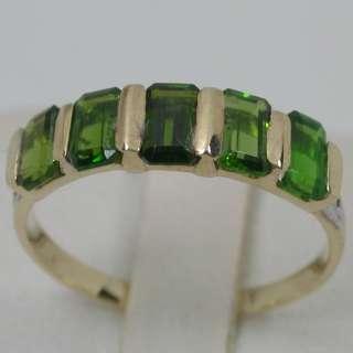 14K SOLID YELLOW GOLD NATURAL AAA TSAVORITE GARNET BAND DIAMOND RING